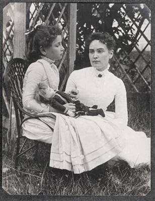 Helen Keller (8) with Anne Sullivan on vacation in Cape Cod