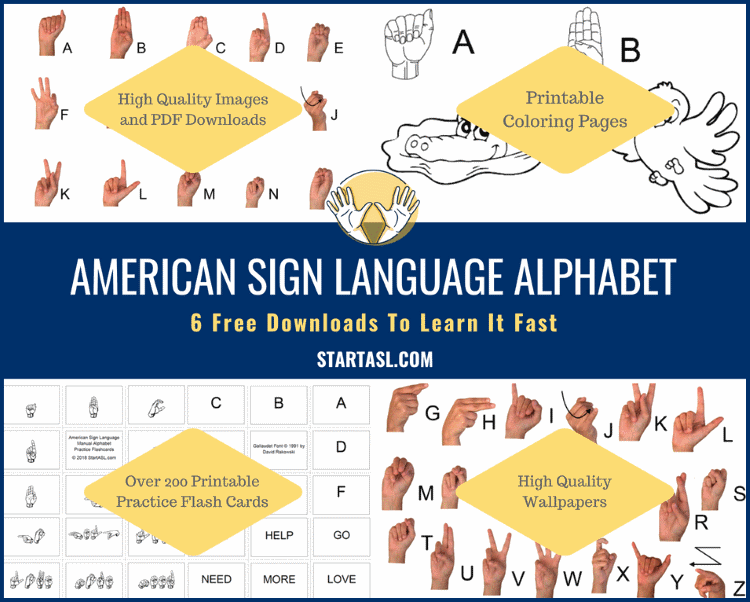 photo relating to Sign Language Flash Cards Printable identified as Indication Language Alphabet 6 No cost Downloads towards Understand it Instantaneous