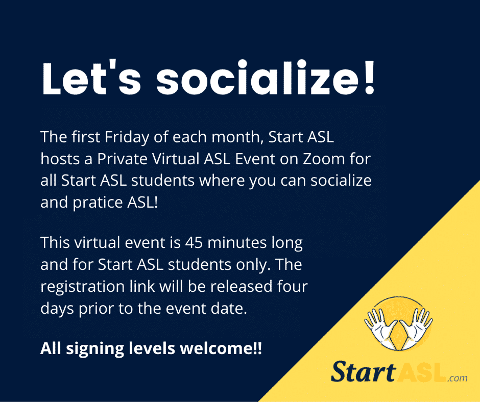 Start ASL Private Zoom Social Events
