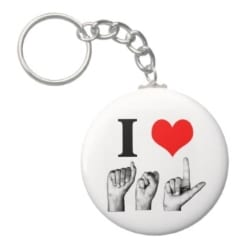 I heart A-S-L Fingerspelled Keychain